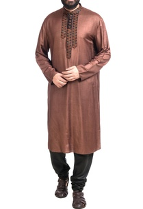 brown-muga-dupion-silk-hand-embroidered-kurta-with-churidar