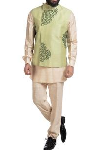 green-muga-dupion-silk-nehru-jacket-with-off-white-kurta-pants