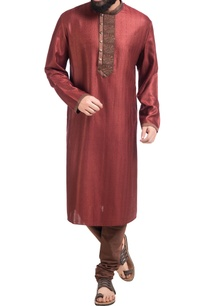 maroon-muga-dupion-silk-kurta-with-churidar