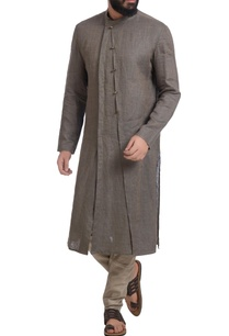 grey-muga-dupion-silk-kurta-with-churidar