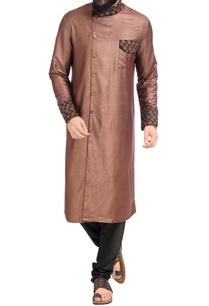brown-embroidered-high-collar-kurta-with-churidar