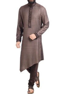 charcoal-pintuck-kurta-with-pants