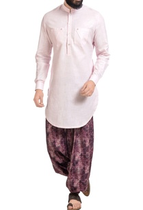 pink-cotton-silk-kurta-with-printed-cowl-pants
