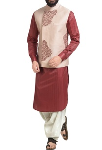 pastel-pink-dupion-silk-floral-embroidered-nehru-jacket-set