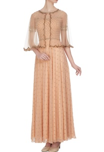 beige-georgette-net-pearl-bead-work-gown-with-cape