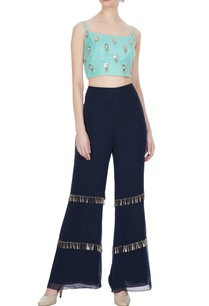 sea-green-blue-georgette-tassel-embellished-crop-top-pants