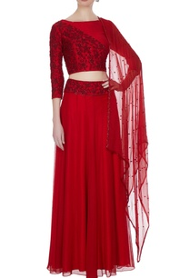 red-georgette-chiffon-silk-dori-work-bead-embellished-lehenga-with-blouse-dupatta