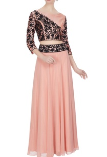 pink-georgette-silk-dori-work-bead-embellished-blouse-skirt