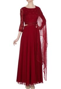 maroon-georgette-chiffon-dori-bead-work-anarkali-dress