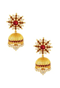 gold-plated-maroon-swarovski-tarun-tahiliani-jhumka-earrings