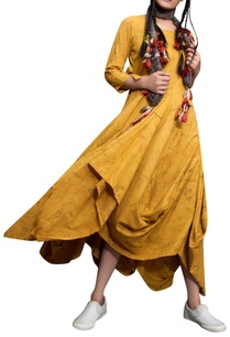 mustard-yellow-cotton-cowl-dress-with-scarf