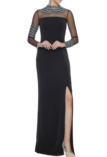 black-stretch-fabric-silver-patti-gown-with-side-slit