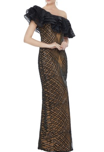 black-stretch-fabric-frilled-sequin-one-shoulder-gown