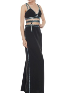 black-stretch-fabric-silver-patti-a-line-skirt-with-bustier