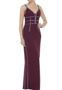 wine-stretch-fabric-diamond-pattis-gown