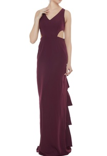 wine-stretch-fabric-frilled-cut-out-sheath-gown