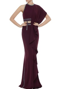 wine-stretch-fabric-stone-patti-gown-with-draped-panel
