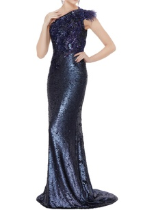 navy-blue-sequin-fabric-one-shoulder-sheath-gown