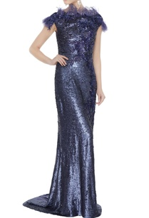 navy-blue-sequin-fabric-tasseled-sheath-gown