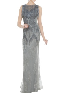 silver-net-tasseled-sheath-gown