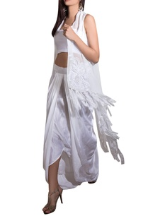 white-georgette-satin-lycra-hand-embroidered-cape-with-draped-skirt-bustier