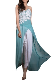 blue-georgette-cotton-satin-hand-embroidered-kurta-with-dhoti-pants
