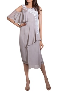 grey-crinkle-satin-flat-chiffon-hand-embroidered-short-ruffled-dress