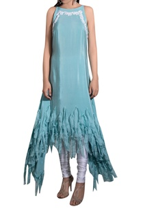blue-crepe-hand-embroidered-asymmetric-kurta-with-white-lycra-churidar