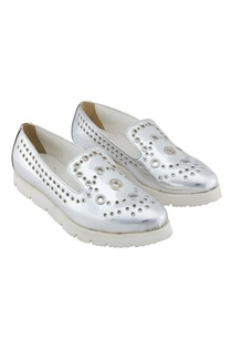 silver-synthetic-eyelet-shoes