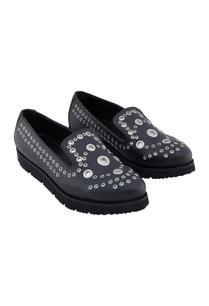 black-synthetic-eyelet-shoes