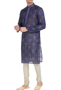 dark-blue-tussar-cotton-silk-floral-print-kurta
