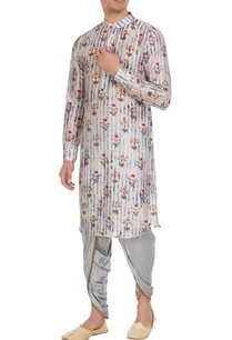 grey-tussar-cotton-silk-floral-print-kurta