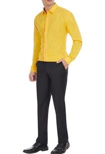 yellow-cotton-button-down-shirt