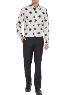 black-white-lotus-printed-pure-cotton-long-sleeve-shirt
