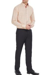 beige-orange-moustache-printed-cotton-shirt