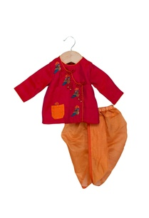 red-orange-cotton-silk-hand-embroidered-anghrakha-with-dhoti
