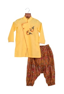yellow-khadi-linen-hand-embroidered-sherwani-with-cowl-pants