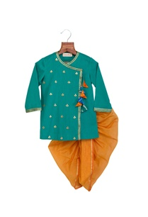 turquoise-grey-khadi-linen-chanderi-gota-patti-work-colorful-tassels-anghrakha-with-dhoti