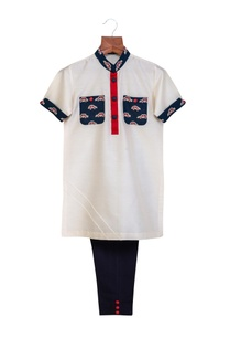 off-white-navy-blue-cotton-silk-printed-pockets-collar-kurta-with-pants