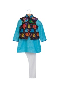 black-blue-khadi-linen-cotton-silk-bird-printed-jacket-with-kurta-chudidar