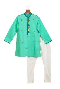 sea-green-cotton-silk-embroidered-kurta-with-chudidar