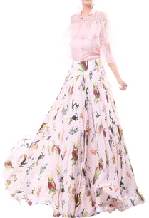 rose-pink-organza-crepe-ruffle-blouse-with-flared-floral-skirt