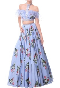 powder-blue-off-shoulder-ruffle-blouse-with-floral-lehenga