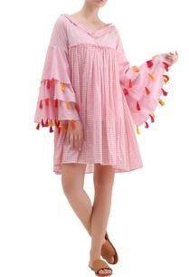 baby-pink-cotton-silk-tasseled-chequered-skater-dress