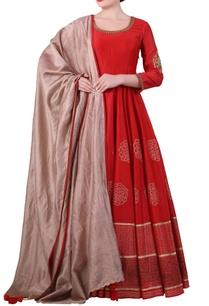 red-cotton-silk-block-print-anarkali-kurta-with-beige-cotton-silk-dupatta
