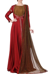 maroon-cotton-silk-zari-work-jacket-with-olive-inner-and-net-dupatta