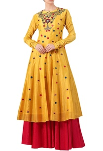 yellow-cotton-silk-zari-thread-embroidered-kurta-with-red-cotton-palazzos