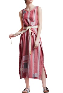 pink-white-cotton-regular-patchwork-wrap-dress