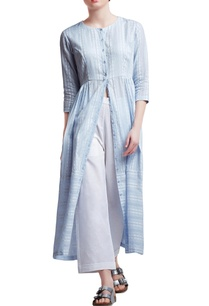 light-blue-cotton-regular-side-gathered-dress-with-pants