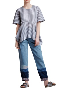 grey-white-cotton-oversized-flared-top